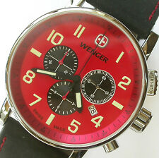 NEW $295 GENTS WENGER 1243.103 RED DIAL 43MM COMMANDO CHRONOGRAPH STRAP WATCH