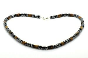 Mens Bead Necklace Tiger's Eye with Hematite 925 Sterling Silver Clasp Handmade