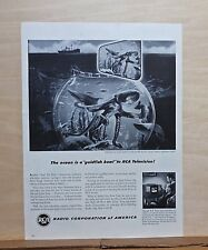1947 magazine ad for RCA Victor Televisions -  RCA TV cameras study giant squid