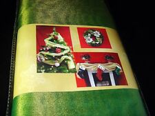 "Golden Green Fabric Tree Mantel Garland 42"" x 108"" Christmas Holiday Accents"