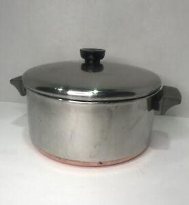 Vintage Revere Ware 1801 4-1/2 Qt Stock Pot w/ Lid Clinton ILL USA Copper Clad