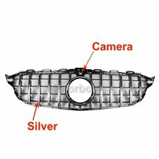For Camera GT Panamericana Grill for Mercedes C W205 C250 C43 AMG 2015-18 Silver