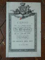 Incisione Censo Di La Poblacion Di Espan ̃ A Di El Anno ̃ O Di 1797 Rey 1801