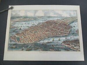 Hand-Colored Map CITY OF NEW YORK 1853, Ponte Vecchio Reproduction circa 1960