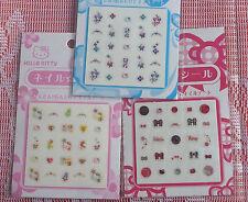 Sanrio HELLO KITTY Glitter Nail art stickers hand nails deco manicure skin care