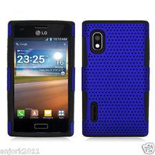 LG Optimus Extreme L40G Mesh Perforated Hybrid Case Skin Cover Blue Black