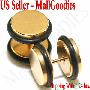 """2096 Fake Cheater Illusion Faux Plugs 16G Surgical Steel 1/2"""" 12mm Gold Largest"""