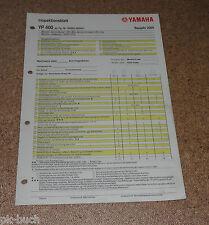 Inspektionsblatt Yamaha YP 400 Typ SH025 Baujahr 2005