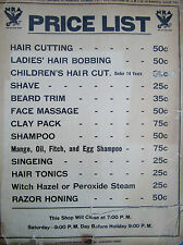 1961 Vintage Fitch Hair Tonics & Applicator Barbershop Salesman Sign Ads Prices