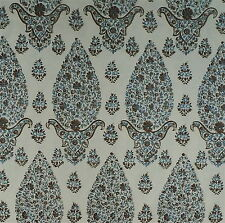 Clarence House Topo Paisley Slate Brown Cotton Print w/ border 5+ yards New