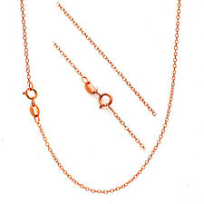 "18K Rose Gold over Sterling Silver 18"" Thin Cable Chain Necklace for Pendants"