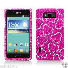LG Splendor Venice US730 Diamond Case Snap-On Cover Accessory Hot Pink Hearts