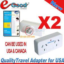 "2X PCs ""2 OUTLET"" TRAVEL ADAPTOR FOR USA Canada, AU STANDARD, AU STOCK(STV-2009)"