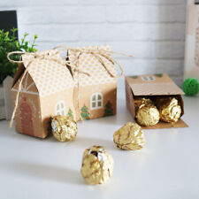 10pcs Christmas Gift Bags Kraft Paper Xmas Candy Packing Bag Wedding Party Favor