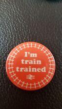 I'M TRAIN TRAINED METAL PIN BADGE - BRITISH RAIL LOGO - RED - 3.8cm DIAMETER