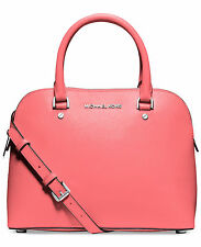 NWT Michael Kors Cindy Medium Dome Saffiano Leather Satchel Coral Silver $258