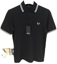 "**Fred Perry : MIE Twin Tipped Polo ( 36"" - Slimmer Fit ) Navy & Snow"