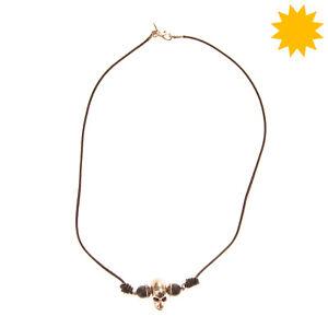 RRP €165 EMANUELE BICOCCHI Leather Necklace 925 Sterling Silver Skull Pendant