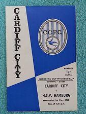 1968 - CUP WINNERS CUP SEMI FINAL 2ND LEG PROGRAMME - CARDIFF CITY v HAMBURG