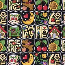 Mary Engelbreit Favorite Motifs Fabric Black Squares Home Love Family Cherries