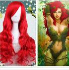 Women HALLOWEEN BATMAN Poison Ivy Long Wavy CURLY Red Cosplay Costume Wig +Cap