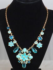 Kate Spade Gold Plated Blue Multi Flower Cluster Statement Necklace WBRUE321