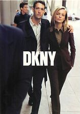 DKNY Clothing Man and Woman Models Walking in Suits Advertisement Postcard 6x4""