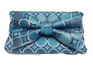 Stacy Adams Men's Bow Tie & Hanky Set Turquoise & Silver Polka Dots Microfiber