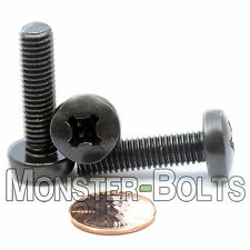 M8 x 30mm - Qty 10 - Phillips Pan Head Machine Screws - DIN 7985 A - Black Steel
