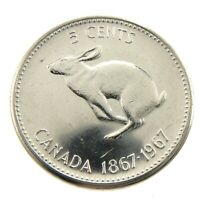 1967 Canada Five 5 Cents Nickel Uncirculated Coin Fresh From New Roll A259