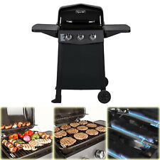 BBQ Grill Propane Gas 3-Burner Open Cart Dyna-Glo Black Porcelain Coated Steel