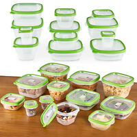 24PC Plastic Food Storage Reusable Containers with Lids Lunch Box Meal Prep UK