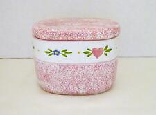 R. B. BERNARDA PORTUGAL Pink Ceramic Oblong Trinket Jewelry Box w/ Lid