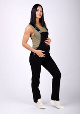 Womens Maternity Dungarees - BLACK