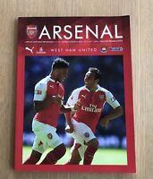Arsenal v West Ham Utd Premier League 2015 programme Mint Condition + Team Sheet
