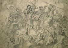 Unbekannt unsigniert / Bleistiftzeichnung / Schlacht Osmanen Bayern /Slg. Denzel