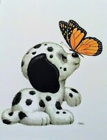 Unused Vintage Dalmatian PUPPY Dog Note Card Greeting Card Morehead Butterfly