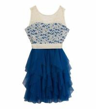 RARE EDITIONS Girls' 8 Royal Blue Illusions Lace Cascade Dress NWT $86
