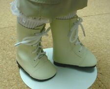 "DOLL Shoes, 65mm LT CREAM Lace up Boots for 16"" Sasha"