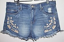 Free People FP Denim Short Shorts Distressed Embroidered Bohemian Size 27