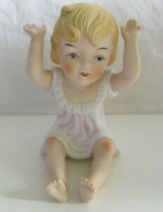 """Lovely vintage bisque piano baby ornament figure 5""""tall   #S3"""