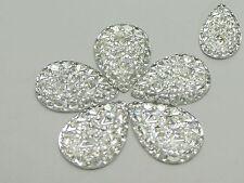 50 Clear Glitter Flatback Resin Teardrop Cabochon Pyramid Rhinestone 18X25mm