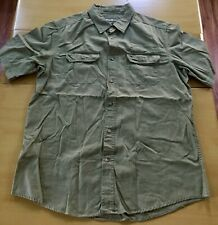 Eddie Bauer Mens Olive Short Sleeve Button Down Shirt Size Large EUC