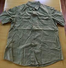 Eddie Bauer Mens Olive Short Sleeve Button Down Shirt Size Large EUC