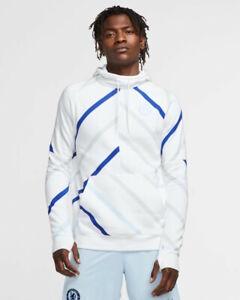 Chelsea Fc Nike Pullover Sportswear Felpa Cappuccio Hoodie UOMO Bianco Cotone