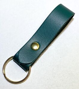Leather Key ring / Key fob Green Leather Antique brass fittings