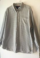 Tommy Hilfiger Mens XL Long Sleeve Button Up Flannel Shirt White BlueBrown Plaid