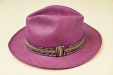 Chapeau Panama rose fuschia parme KIWI Saint-Tropez t 60 hat s 7 3/8 pink straw