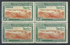 Brazil 1946 Sc# 647 Postal Union Congress US Spain Plane $1.30 block 4 MNH