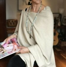 CASHMERE Poncho Oatmeal CAPE Wrap OneSize Fits All,FREE UK Shipping,NATURAL